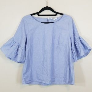 Madewell Blue Scoopneck Cotton 1/2 sleeve Top